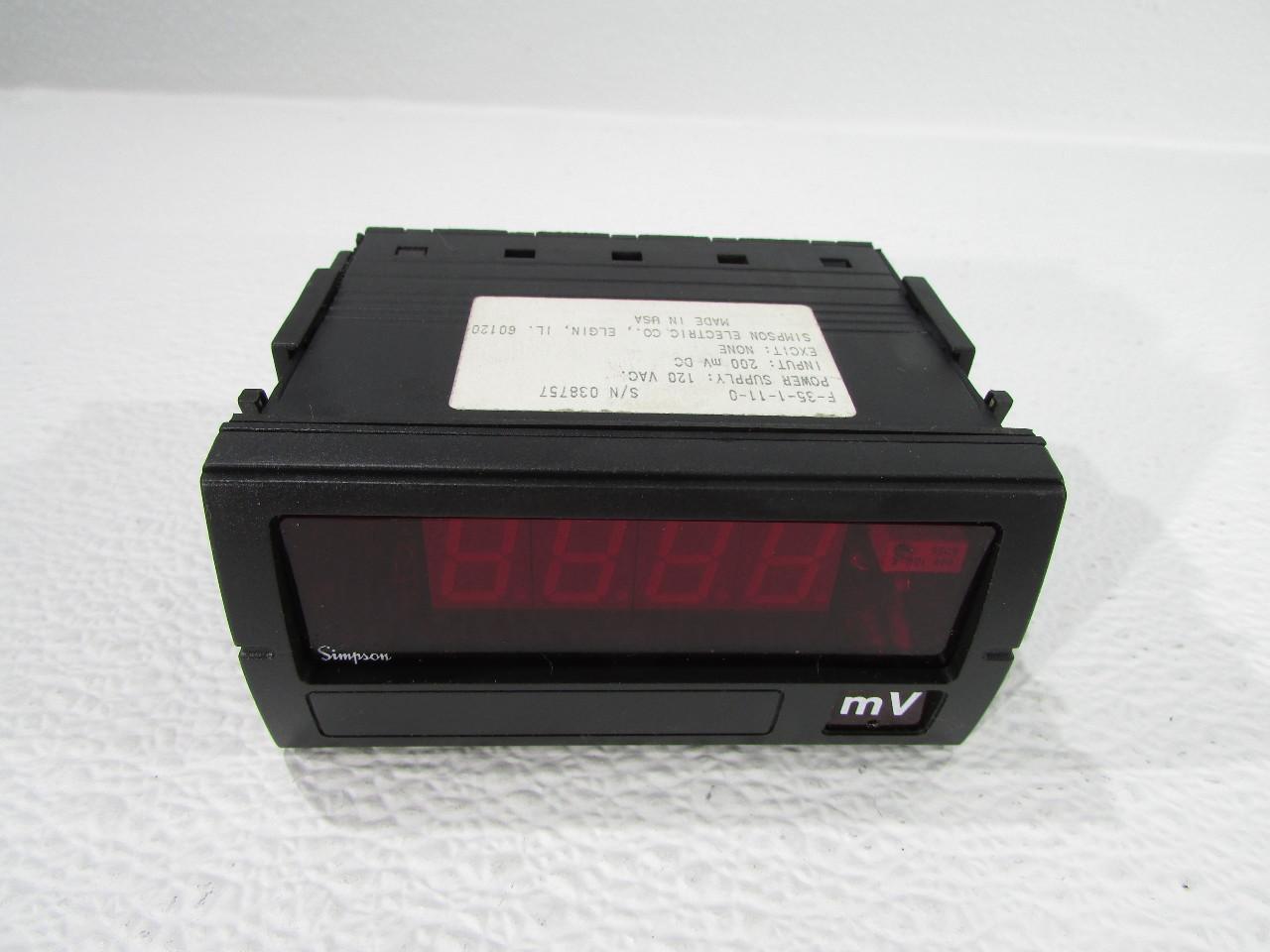 Simpson Panel Meter : Simpson f digital panel meter premier equipment
