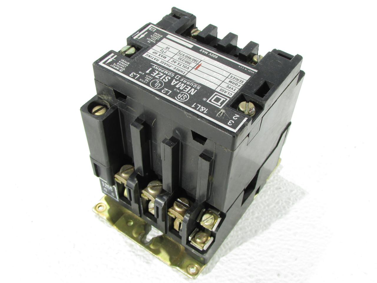 Square d nema 8536 size 1 motor starter premier for Square d motor starter