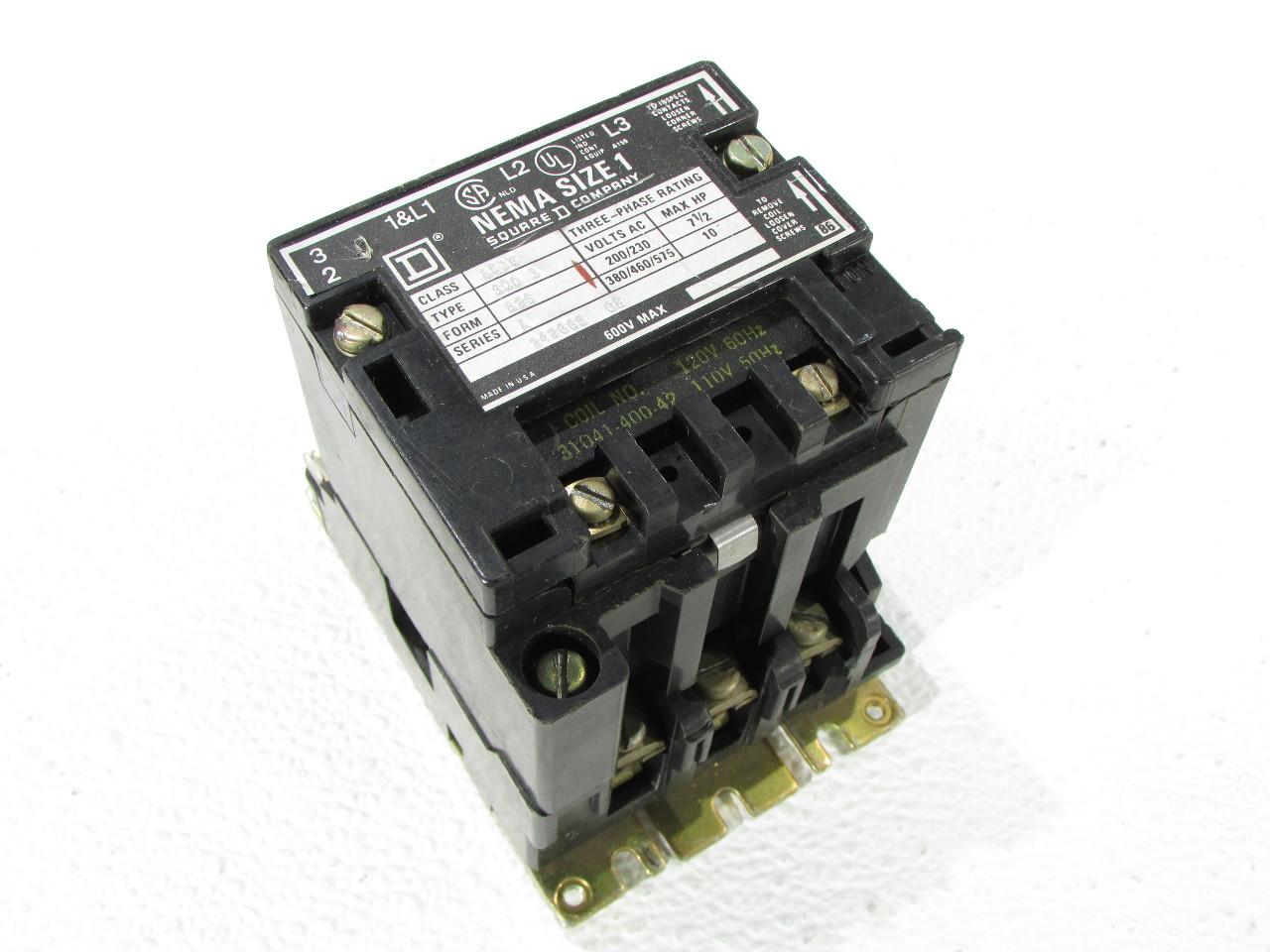 Square D Nema 8536 Size 1 Motor Starter Premier