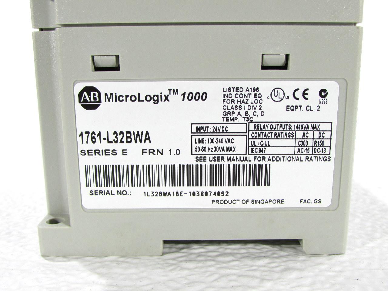 ALLEN BRADLEY 1761-L32BWA MICROLOGIX 1000 PLC MODULE *WARRANTY #2 ...