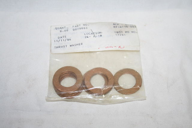* LOT OF 9 P/N 0079663 F/LINE TRUCK THRUST WASHER NEW