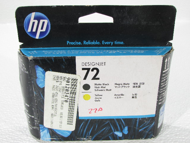NEW HP 72 DESIGNJET  C9384A MATT BLACK AND YELLOW  COLOR INKJET CARTRIDGE