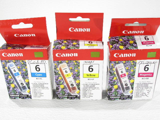 NEW LOT OF THREE CANON INK TANKS BCI-6C, BCI-6Y, BCI-6M