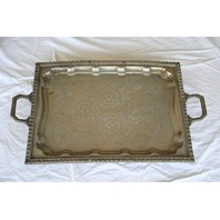 ~ Vintage Ornate Rectangle Silver Tea Serving Tray with Handles 18 x 14 inches