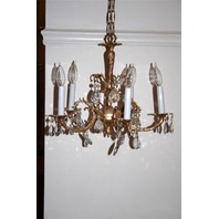 * LOVELY 5 ARM BRASS CHANDELIER CRYSTALS/GLASS