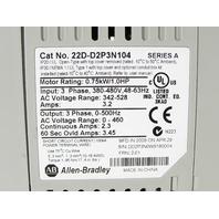 * ALLEN BRADLEY POWERFLEX 40 22D-D2P3N104 DRIVE 1HP .75KW 2.3AMP 480VAC 3PHASE