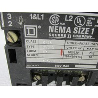 SQUARE D NEMA 8536 SIZE 1 MOTOR STARTER
