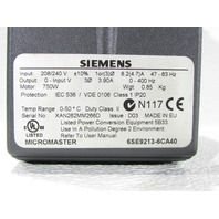 * SIEMENS MICROMASTER 6SE9213-6CA40 VARIABLE FREQUENCY AC DRIVE 3.9AMP 230VAC 1HP
