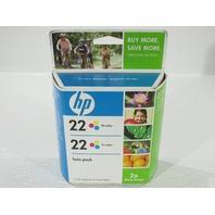 NEW HP 22 DESIGNJET TWIN PACK TRICOLOR  INKJET CARTRIDGE