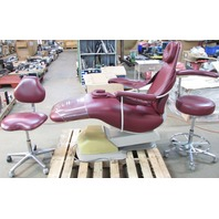 * DENTAL EZ MODEL J DENTAL CHAIR W/ TWO STOOLS