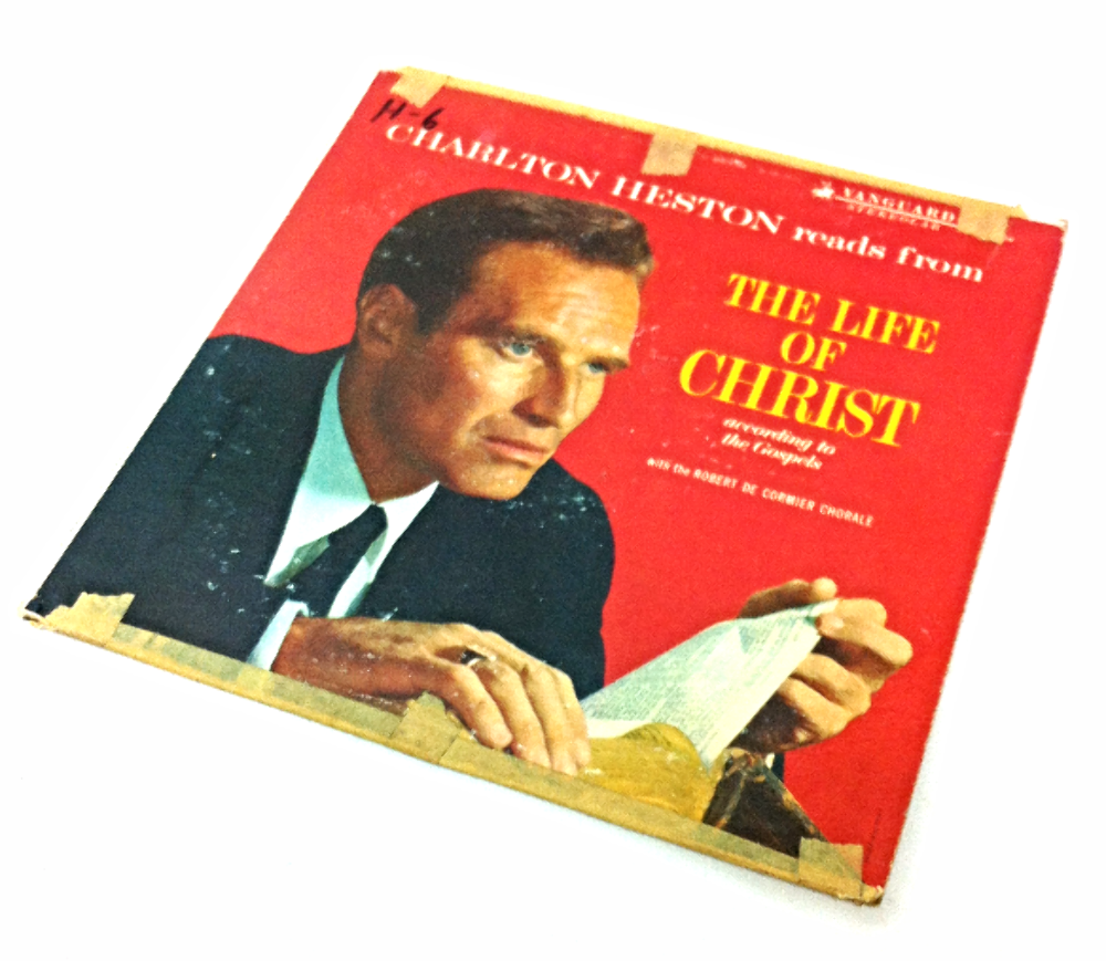 Charlton Heston reads from The Life of Christ Vintage Record LP Movie Prop
