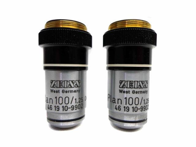 PAIR of Carl ZEISS Oil Immersion Objective Plan 100/1,25 160/- Oel 46 19 10-9902