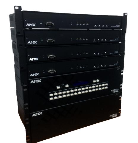 Lot Of 2- AMX Autopatch Optima1 & 2 16x16 V5 w/ A Lot of 4- NXP-TPI/4 Netlinx Touch Panel Interface
