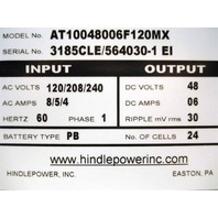 NEW HindlePower Series AT10.1 Stationary Float Battery Charger AT10048006F120MX