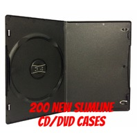 200 x Single Black 7mm Slim Quality CD DVD Cover Cases - Slimline Size case