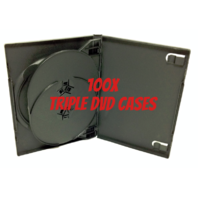 100 NEW Triple CD / DVD  Black Cases 3 Disc TRIPLE NIB SEALED 3-in-1 DVD Storage