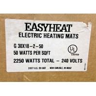 NEW Easy Heat Electrical Heating Mats 30x18-2-50 50W Per SqFt 2250W 240V