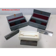 Lot of 4 Microtome Blade Back American Optical and Reichert Blades with Case