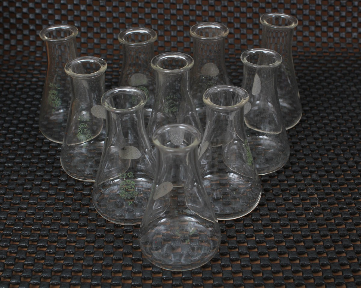 Corning Pyrex Erlenmeyer Flask 25 mL Lot of  10