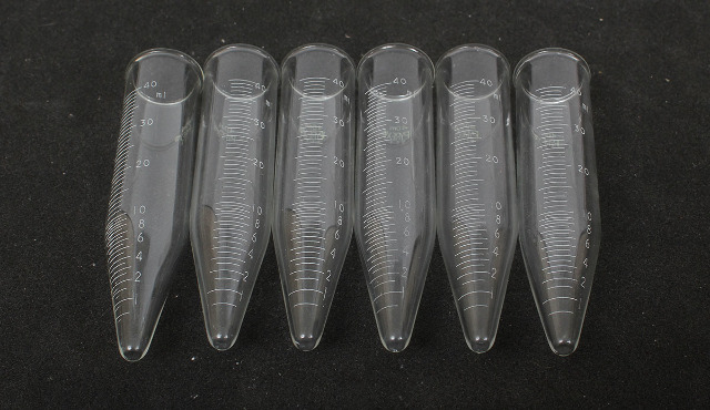 Lot of 6 Pyrex 40mL Graduated Conical Centrifuge Tube w/ Beaded Rim 8080-50