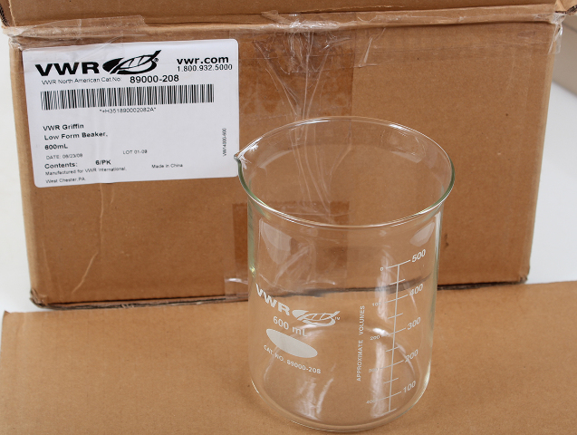 6 Pack of VWR 600mL Low Form Griffin Beakers 89000-208