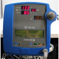 GE Critikon Dinamap Pro 100 Vital Signs Monitor and Rolling Cart