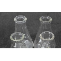 Lot of 4 Pyrex/ Kimax 50mL Glass Graduated Erlenmeyer Flask