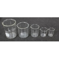 Set of 5 Assorted Glass Griffin Beakers 400ml- 30ml