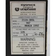 JDS Uniphase 2214-30SLMD Ar Laser w/ 2114-30SL Power Supply w/ 2501 Remote Interface