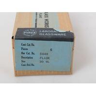 Box of of 6 Corning Pyrex 30mL Round Bottom Micro Kjeldahl Flask with Long Neck  5440-30