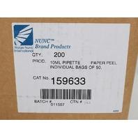 Case of 200 Nalgine NUNC 10ml Serological Disposable Plastic Pipette 159633
