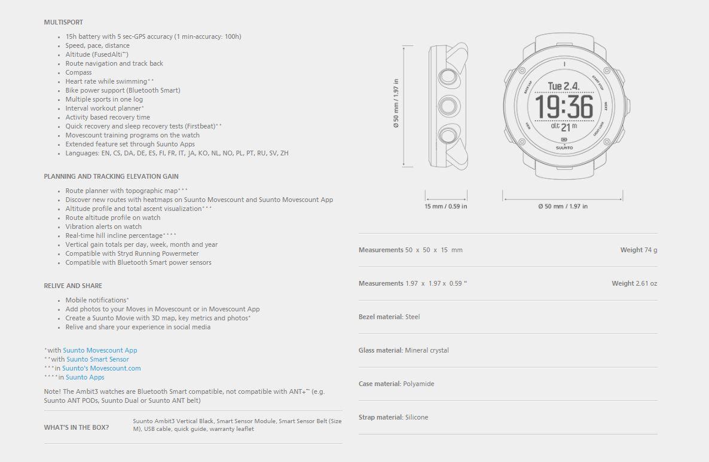 suunto watch ambit3 vertical black  hr  heart rate smart