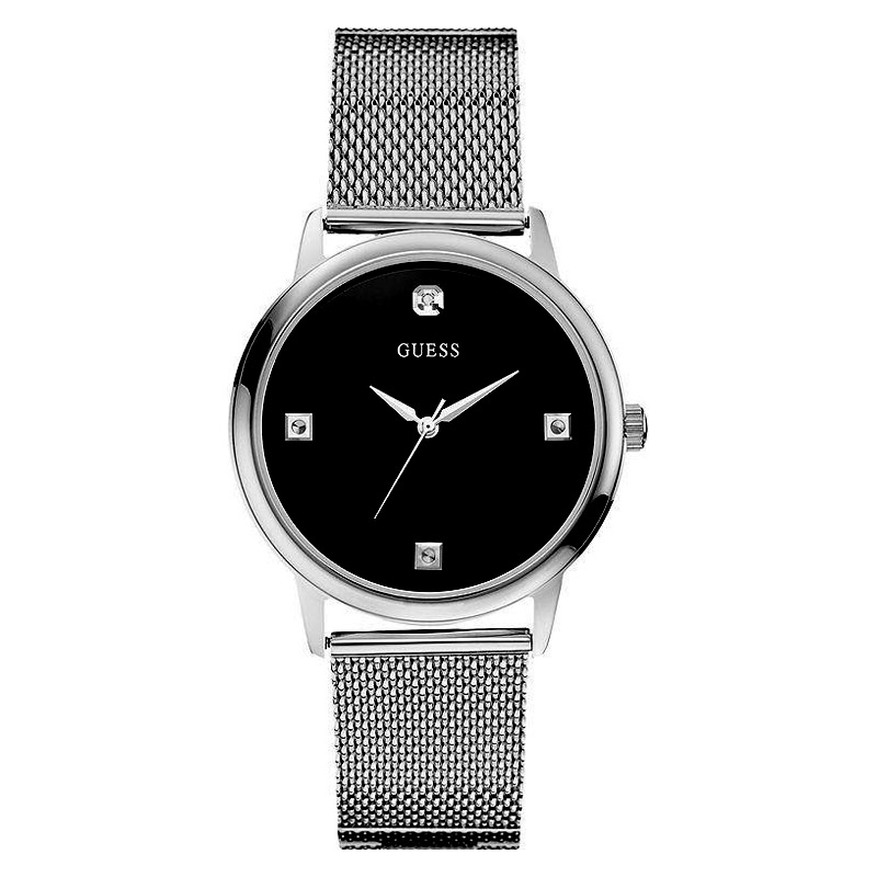 new guess watch men black dial silver mesh stainless steel guess watch for men u0280g1