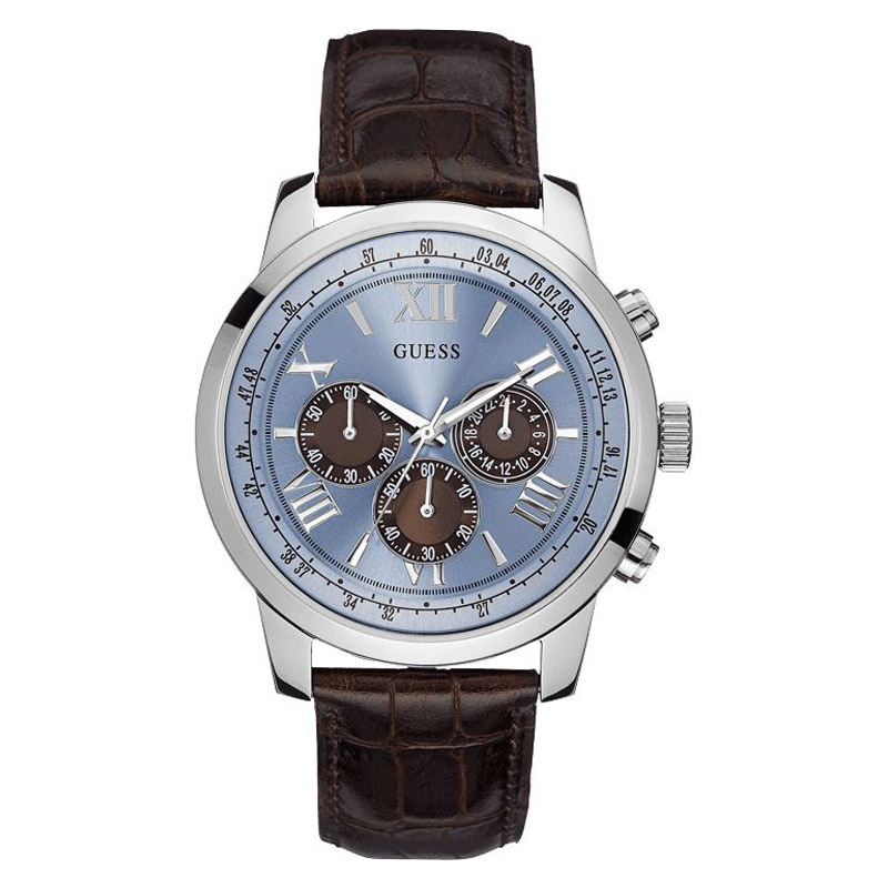 new guess watch men chronograph silver blue brown dial leather guess watch for men u0380g6