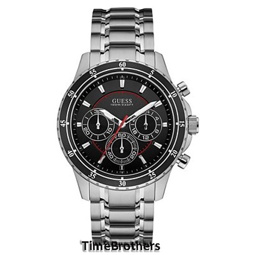 new guess watch for men chronograph black dial steel strap guess watch for men u0676g1