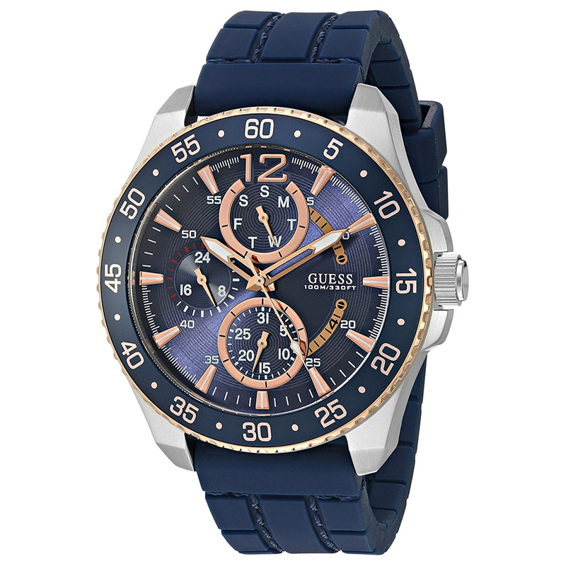 new guess watch men blue rose gold silver case blue silicone guess watch for men u0798g2