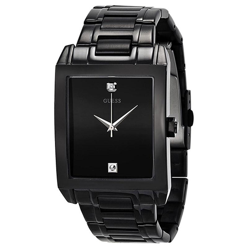 NEW GUESS WATCH Men * Classic Black Retangular Steel Watch ...