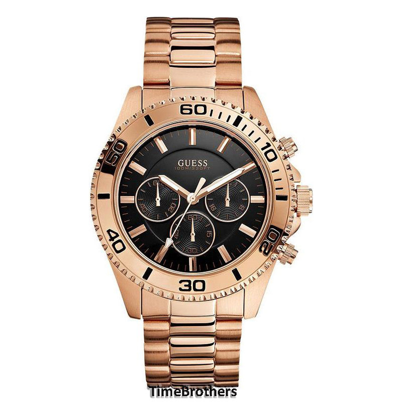 new guess watch for men chronograph sporty rose gold stainless guess watch for men u0170g3