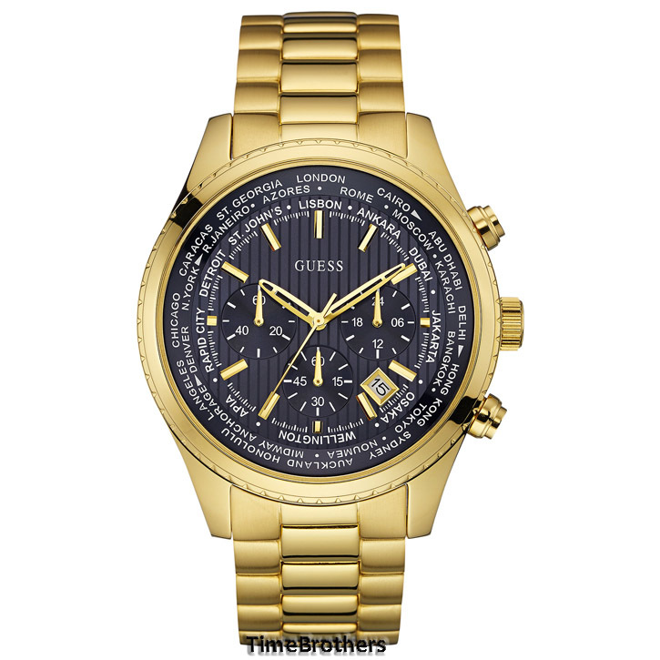 new guess watch for men dark blue dial gold tone chronograph guess watch for men u0602g1