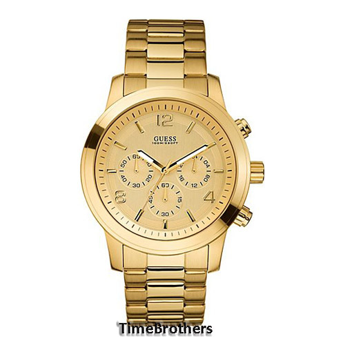 new guess watch for men chronograph all gold tone stainless guess watch for men u15061g2