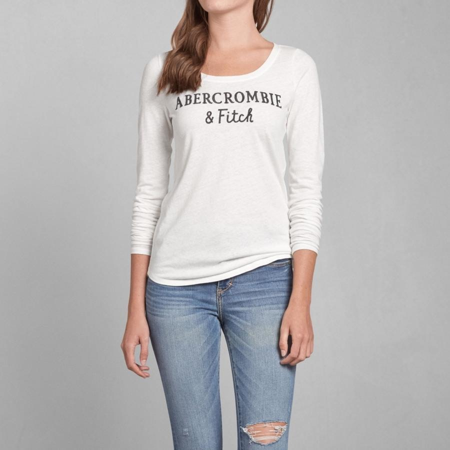 Abercrombie fitch women a f logo embroidered long sleeve for Abercrombie and fitch tee shirts