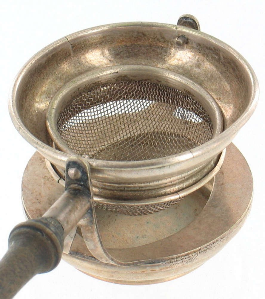 Antique Tea Strainer Silver Plate 3pc Swivel Wooden Handle