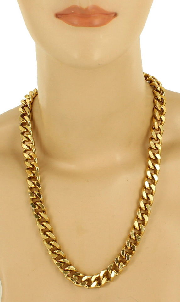 36 Cool Must Try Makeup Hacks: VINTAGE HEAVY CURB LINK GOLD TONE CHAIN LINK NECKLACE 36