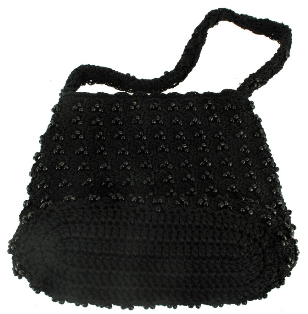 VINTAGE CROCHET MACRAME BLACK JET BEAD DRESS PURSE HAND