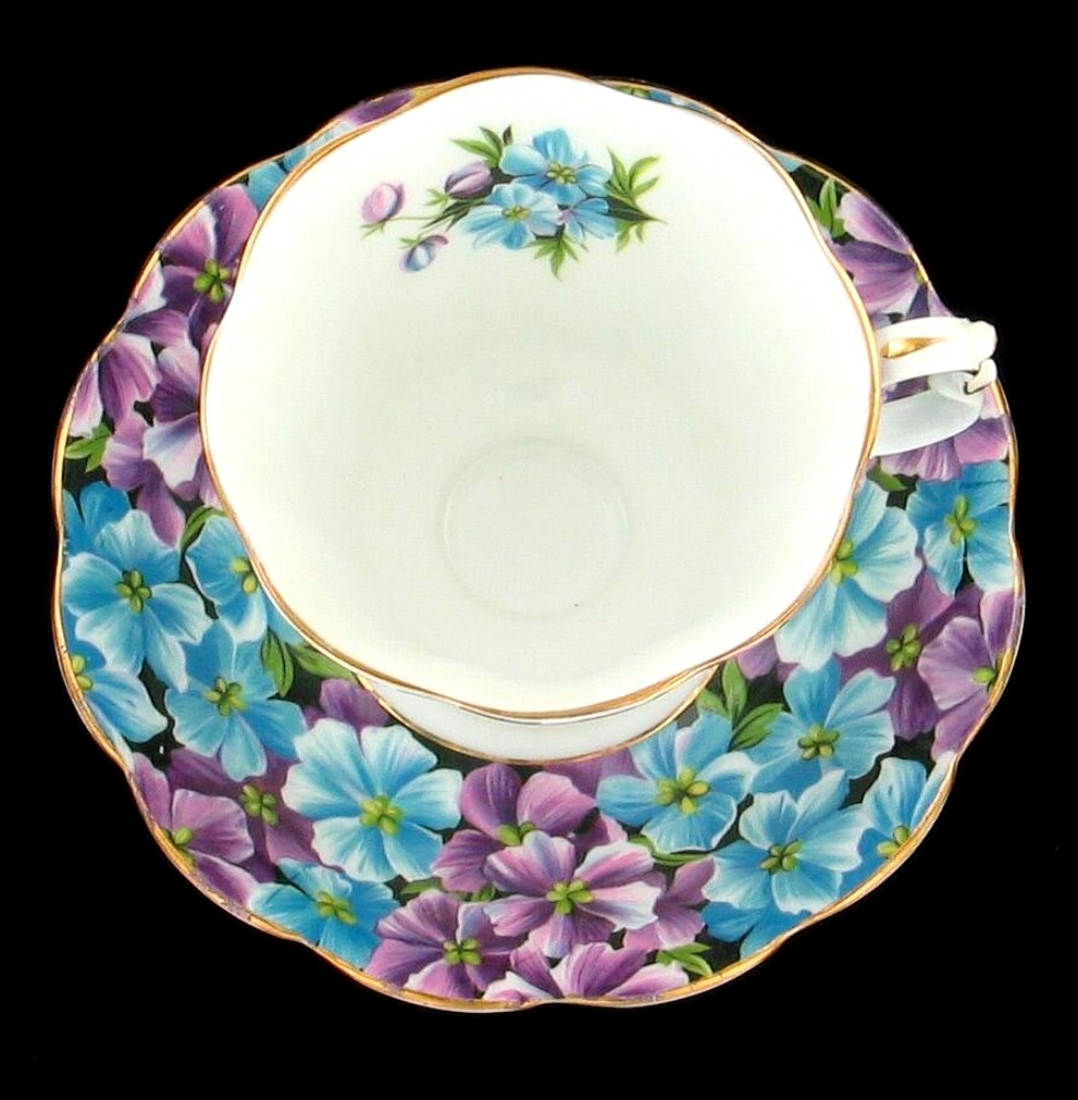 vintage royal albert bone china angela purple blue cup saucer set england ebay. Black Bedroom Furniture Sets. Home Design Ideas