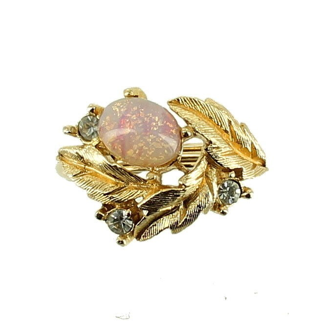 Vintage 1960 S Venetian Art Glass Faux Opal Amp Diamond Ring