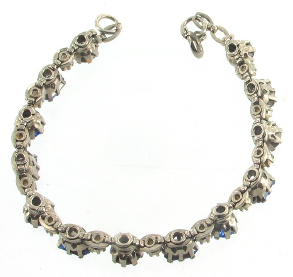 Vintage Pearl Choker Necklace: VINTAGE DECO CZECH ROUND BLUE RHINESTONE PEARL CHOKER