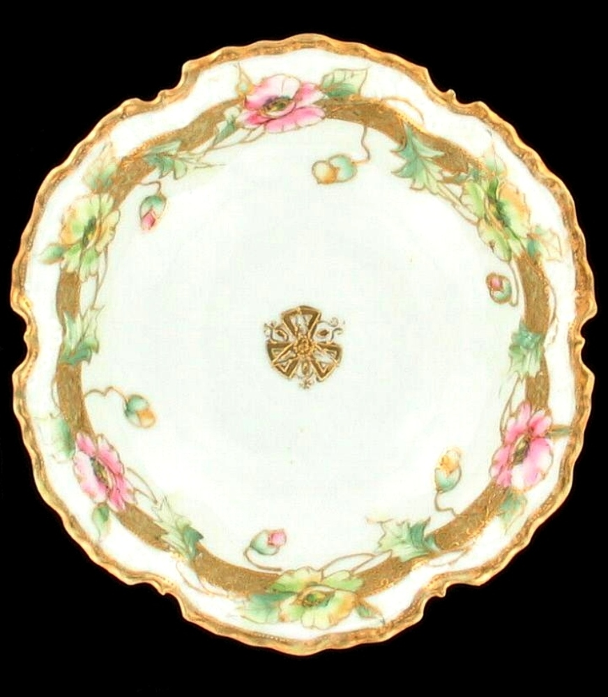 Antique Floral: ANTIQUE NIPPON PORCELAIN BOWL HAND PAINTED FLORAL GOLD