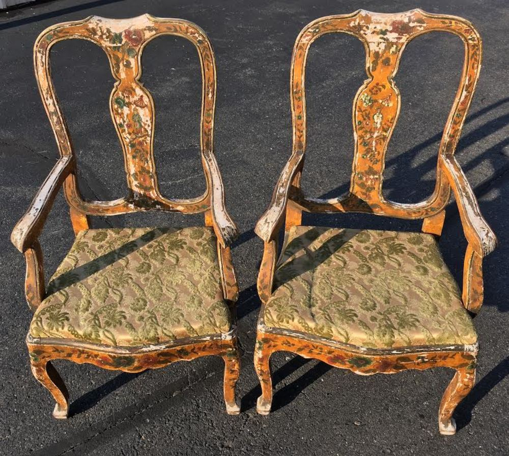Antique Pair VENETIAN Paint Decorated Arm Chairs Best Design Chinoiserie  Italian - Antique Pair VENETIAN Paint Decorated Arm Chairs Best Design