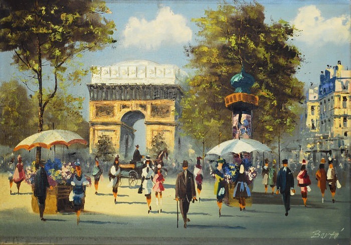 vintage henry berte big paris street scene oil painting. Black Bedroom Furniture Sets. Home Design Ideas